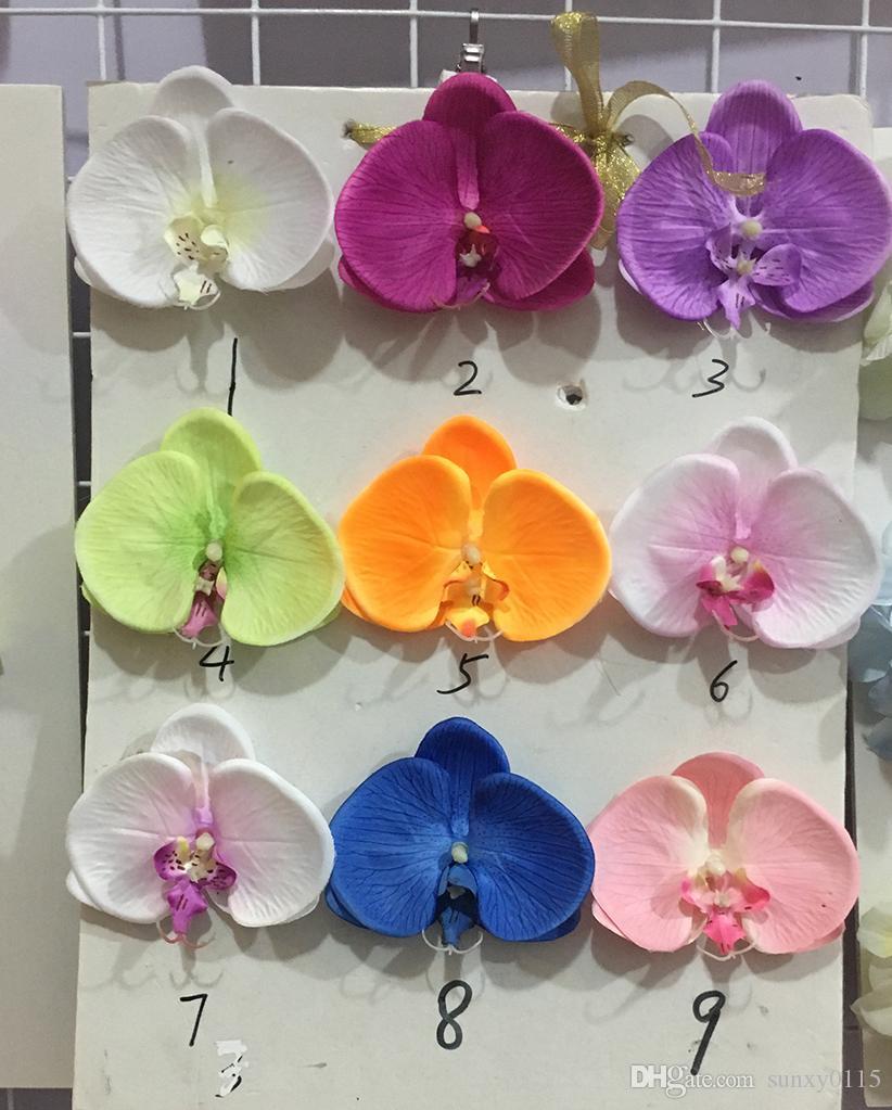 Toptan Ücretsiz Kargo 50 adet / grup ipek Phalaenopsis yapay çiçek El Yapımı İpek Düğün Dekorasyon Için Gül Çiçek Başları flowerwall 11c