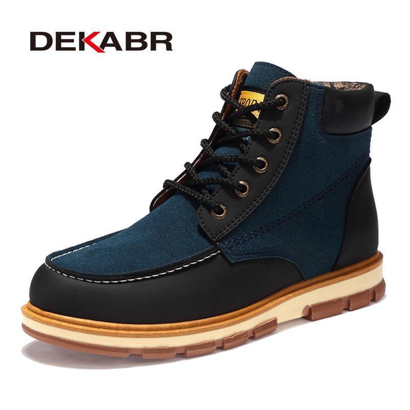 f0c9a247499 ... De Moda De Cuero De La Pu Hombres Botas Cómodos Zapatos De Los Hombres  Botines Cortos De Felpa Invierno Cálido Zapatos Hombres Tamaño 39 ~ 46  Zapatillas ...