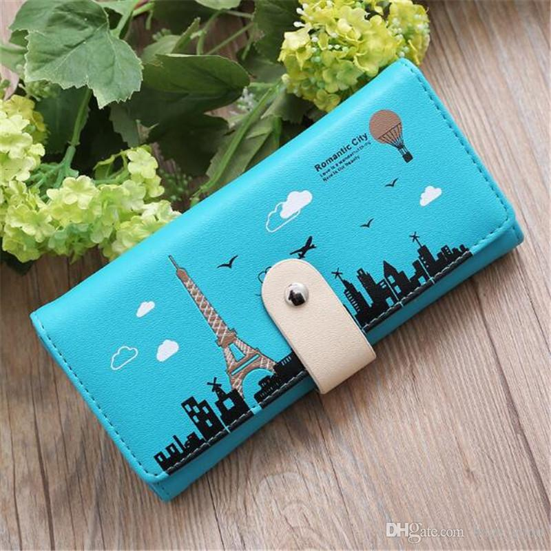 2018 New Women Zipper Wallets Credit Card Holders High Quality PU Leather Cartoon Tower Printing Purses Clutch Bags