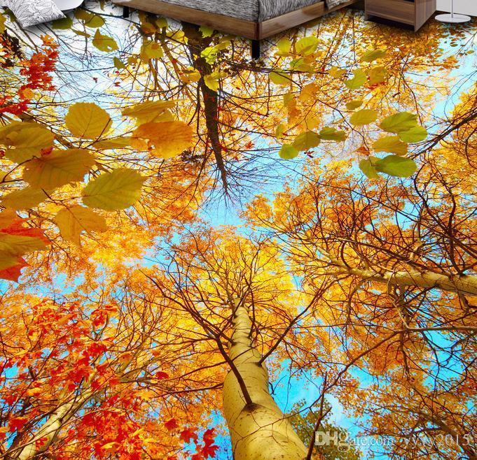 3d floor covering Autumn trees woods 3D floor to floor painted tiles vinyl flooring bathroom