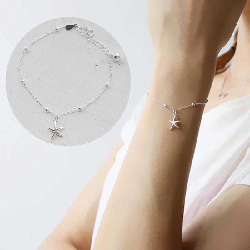 AKOLION Fashion Silver Starfish Bracelet For Girl Women with Star Charm Bracelets Party 925 Jewelry Summer Gift