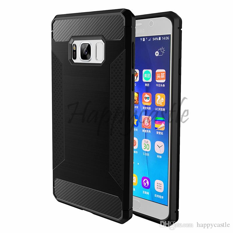 For Samsung Galaxy S8 Plus S7 edge Brushed Armor Case Cover Carbon Fiber Anti-skidding For Samsung J5/J7 Prime On5 On7
