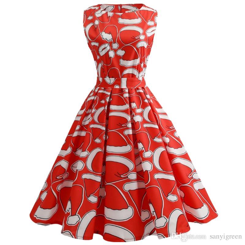 7d01ccbb99d Acheter Robe Vintage Pin Up De Noël Robe 2018 À Manches Courtes Patchwork  Hiver Flocon De Neige Père Noël Imprimé Parti Robes Rockabilly Plus La  Taille De ...