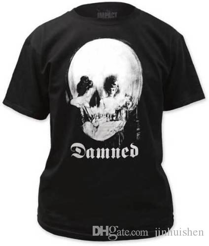 THE DAMNED - Mirror Skull - T SHIRT S-M-L-XL-2XL Brand New - Official T Shirt Fashion Men T Shirt Clothing Printed Cotton Man