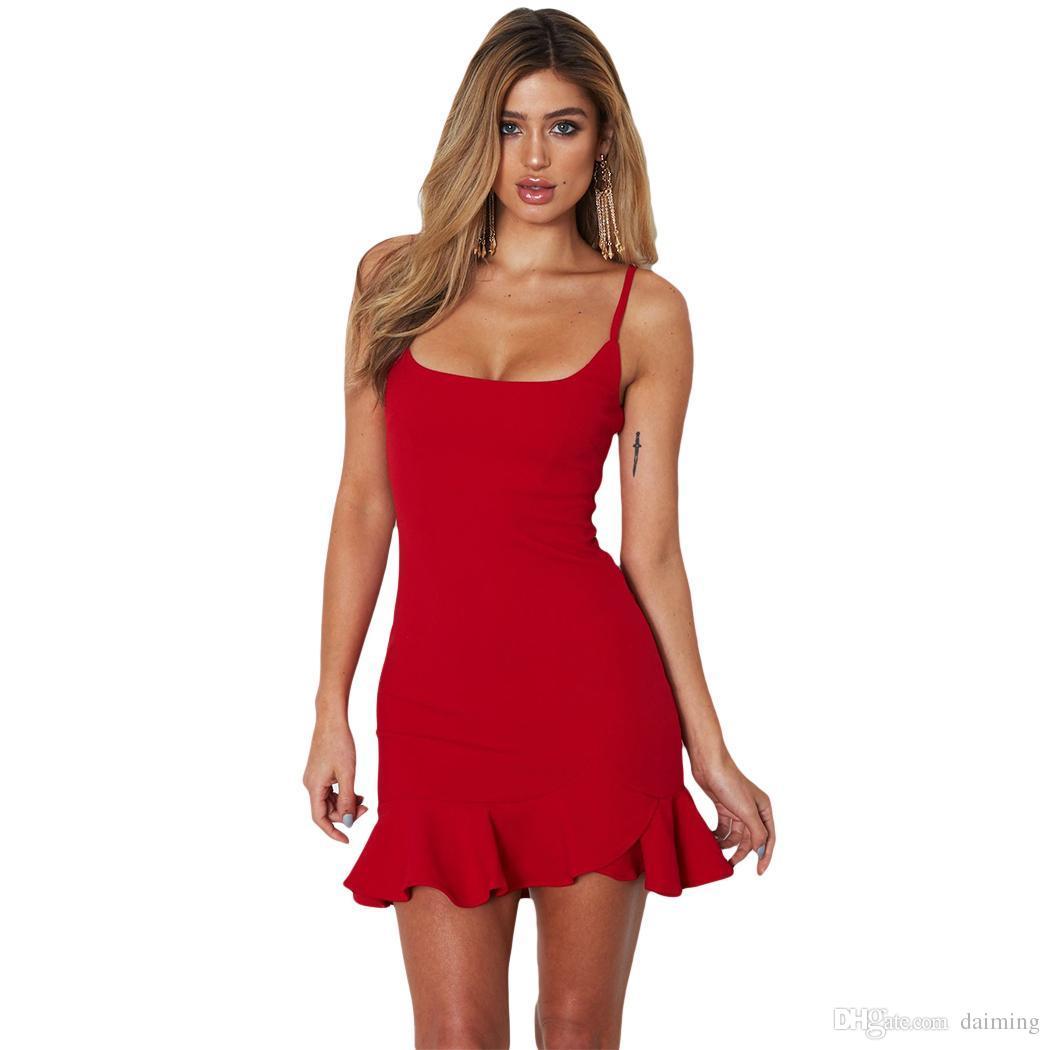 4711c17ac5a48 Großhandel Sommer Sexy Strap Backless Minikleid Frauen V Ausschnitt Rüschen Party  Kleider Dünne Vintage Spaghetti Strap Kleid Femme Vestidos Q4 Von Daiming,  ...