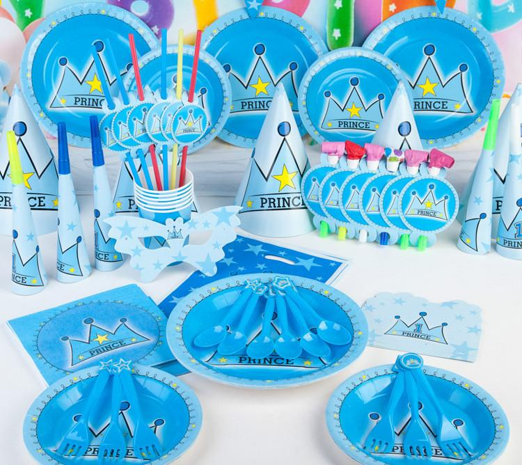 New Kids Birthday Party Decoration Set Birthday prince Crown Theme Party Supplies Baby Birthday Party Pack