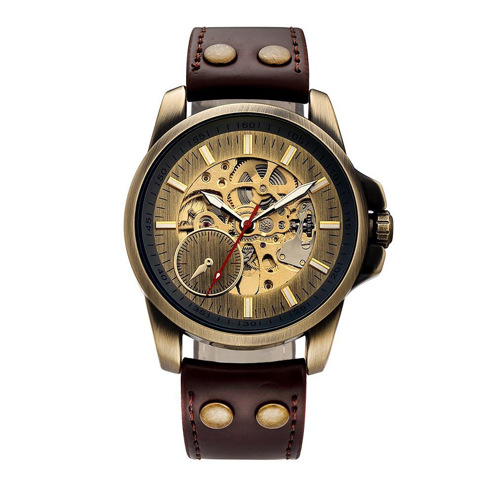c99efe44c5e Compre Moda Masculina Relógios Shenhua 2018 Relógio De Bronze Do Vintage Steampunk  Relógios Mecânicos Automáticos Esqueleto Horloges Mannen De Tuosu