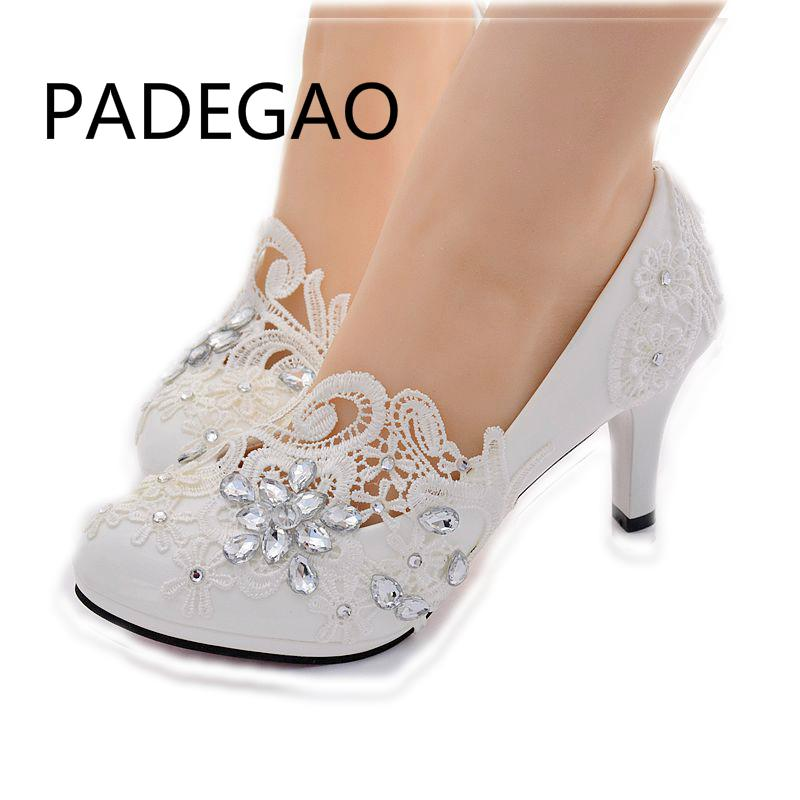 69139df3272 Handmake Rhinestone Lace Flower Floral Bridal Shoes Pump Shoes Bridesmaid  Shoes Princess Party High Heels Stacy Adams Shoes Purple Shoes From ...