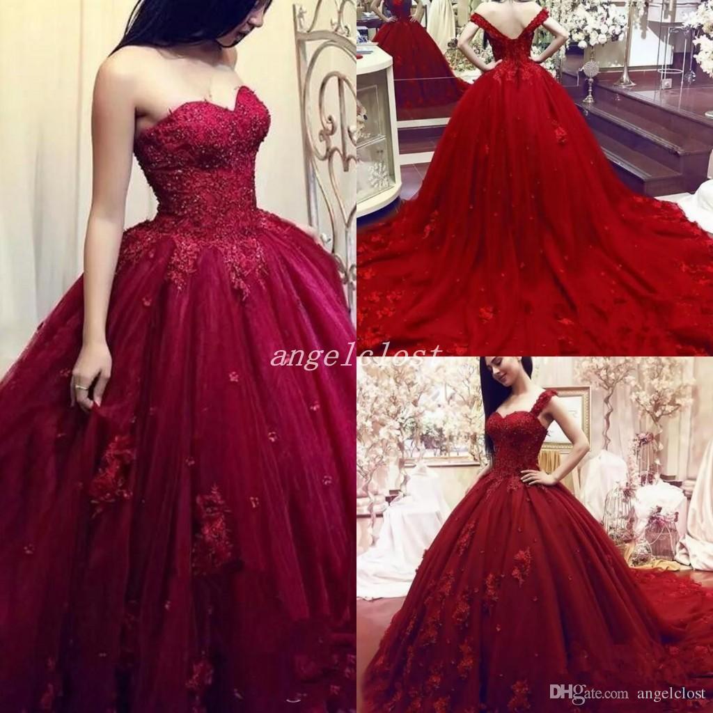 e6b449e40 Compre 2019 Vestido De Fiesta Rojo Oscuro Vestidos De Quinceañera Con  Correas Desmontables Barrer Tren Flores En 3D Vestidos De Fiesta Para  Dulces 15 ...