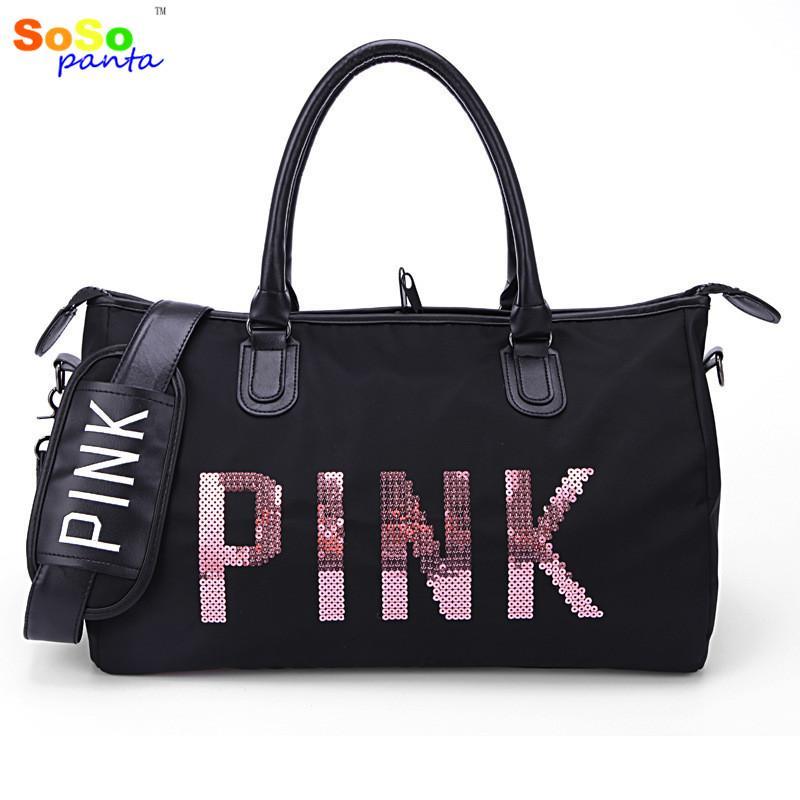 8608621fc792 2018 Sosopanta Designer Metal Sequins PINK Letters Gym Bag For Women Large Sport  Fitness Bag Women Tote Handbag Travel From Peniss
