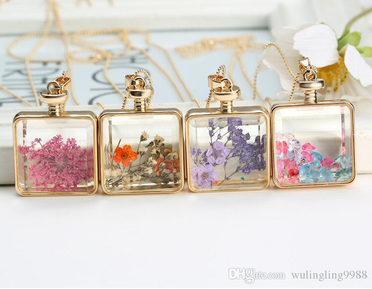 Mode Foto Glas Cabochons Halskette Herbarium Umwelt - Freundlich Getrocknete Blume True Blume Medaillon Glas Quadratische Anhänger Halskette