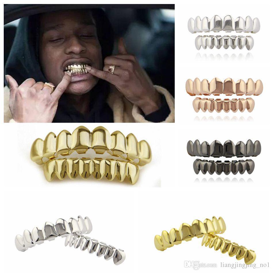 مطلية بالذهب الهيب هوب الأسنان غريلز أعلى أسفل الشواية مجموعة حزب تأثيري مصاص الدماء مشاوي مجموعات OOA4856
