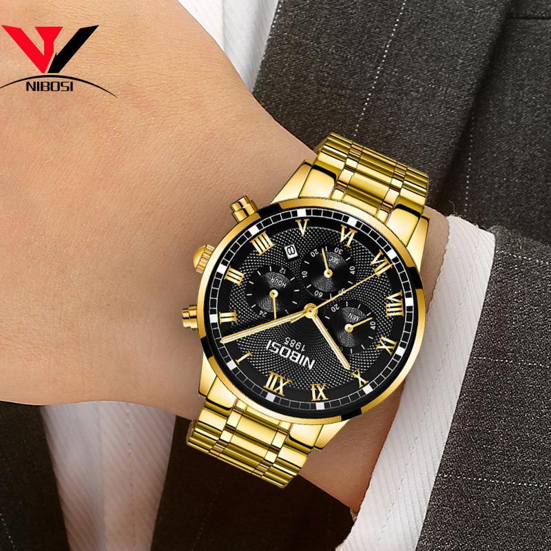 cf8801d58d3 Compre Relogio Masculino NIBOSI Mens Relógios Top Marca Resistente À Água  Cheio De Aço Relógio Masculino Vestido De Negócios Famosos Relógio De Luxo  Saat De ...