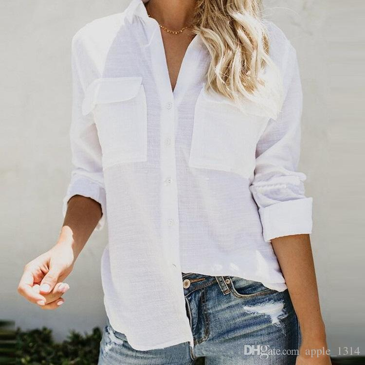 d2c349097ffb5 2019 2018 Women Designer Clothes Women Shirts Linen Long Sleeve Sexy Ladies  Tops Office Club Party Blouses Female Shirt Outfits Plus Size Clothes From  ...