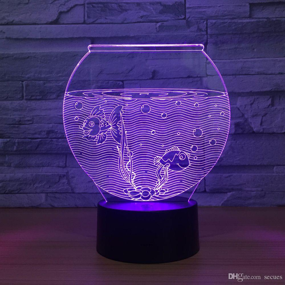 Acquario 3D Illusion Optical Night Light DC 5V USB Alimentato 5th Battery Dropshipping Wholesale Shippin gratuito
