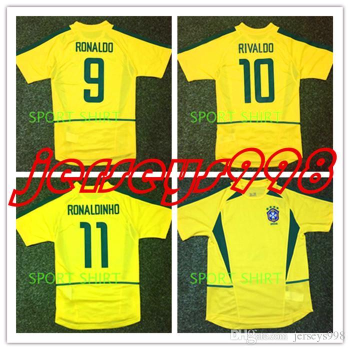 f6c80a5a3 Compre 2002 BRASIL RETRO VINTAGE CLÁSSICO RONALDO RIVALDO RONALDINHO BRASIL  Tailândia Qualidade Camisas De Futebol Uniformes Futebol Camisa Camiseta  Futbol ...