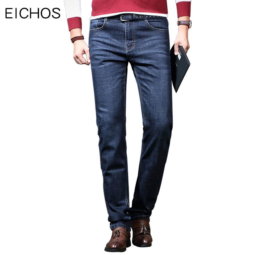 1505f773ddf0 EICHOS Классические мужские джинсы Slim Fit Узкие джинсы Модные кожаные  накладные ...
