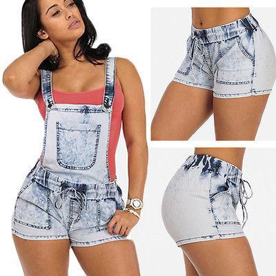 Acquista New Skinny Denim Overall Shorts Cinghie Bretelle Elestic Waist Short  Pantaloni Donna Girl Short Jeans M L Xl 2xl A  28.99 Dal Ario  9b4c2a67bd47