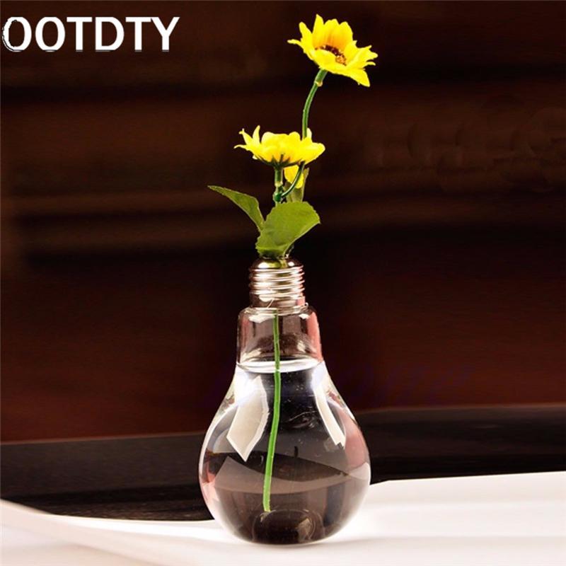 Ootdty Modern Tabletop Vase Glass Bulb Lamp Shape Flower Water Plant
