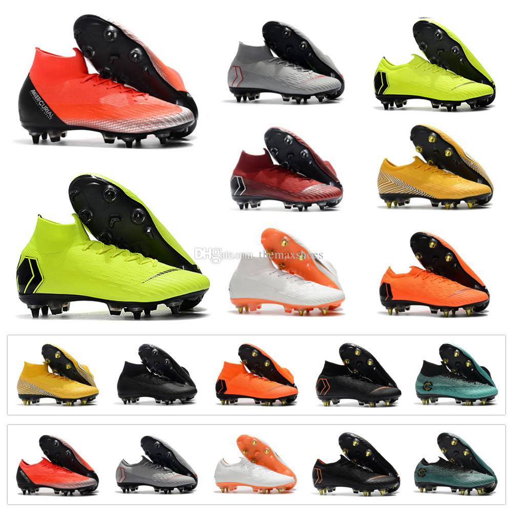 best loved 3e76c 5a8a0 Hot Mercurial Superfly VI Elite SG AC Vapor XII Elite SG AC VII Ronaldo 6  12 CR7 NJR Neymar Mens Soccer Shoes Football Boots Size US6.5-US11