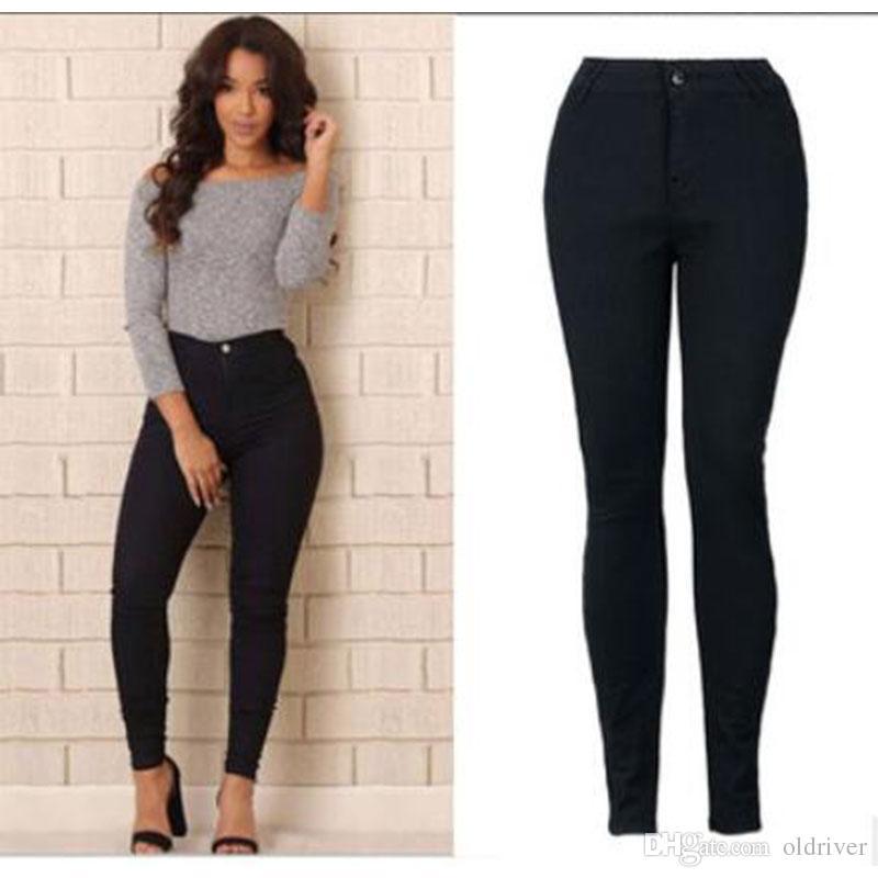 Compre Modelos De Explosión Slim Jeans Para Mujeres Skinny Cintura Alta Jeans  Mujer Negro Lápiz Pantalones Cintura Elástica Mujeres Jeans Pantalones  Negros ... 7e80ce606ba1