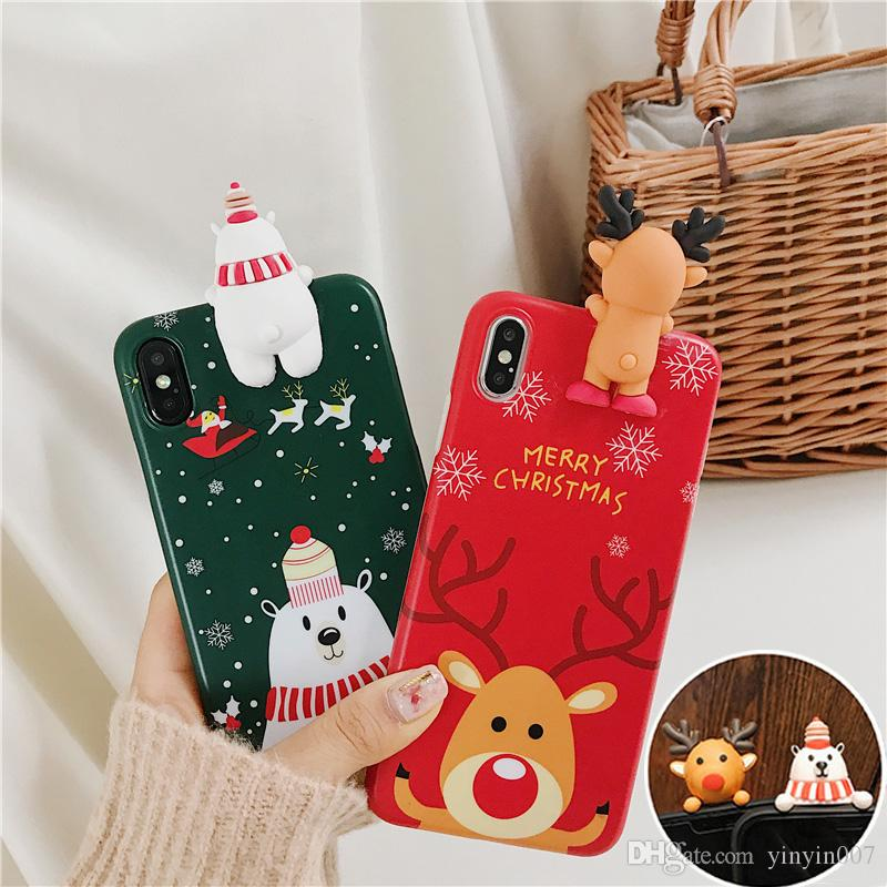 Funny 3d Cute Cartoon Animals Christmas Style Soft Tpu Silicone