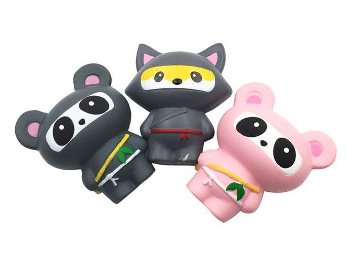 Squishy Fox Ninja Panda Ninja Slow Rising Toy Decompression Pane Cute Cake Sweet Animal Scented Ciondolo telefono portachiavi regalo del giocattolo DHL