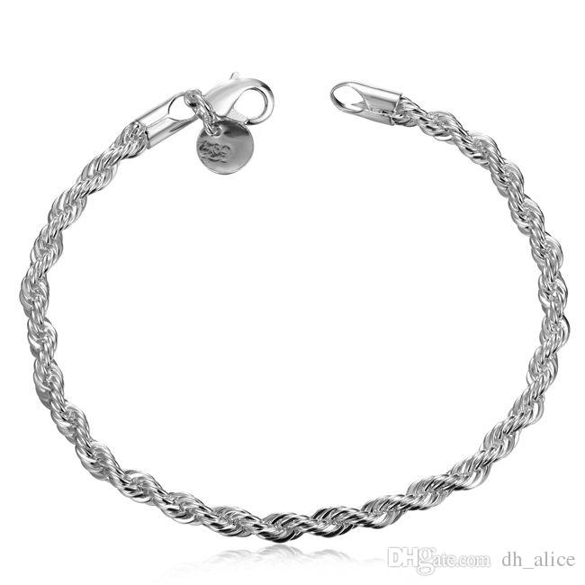 be17fd660a7ff0 2019 Flicker Rope Hand Chain Sterling Silver Plated Bracelet ;Hot Sale Men  And Women 925 Silver Bracelet SPB207 From Dh_alice, $2.44 | DHgate.Com