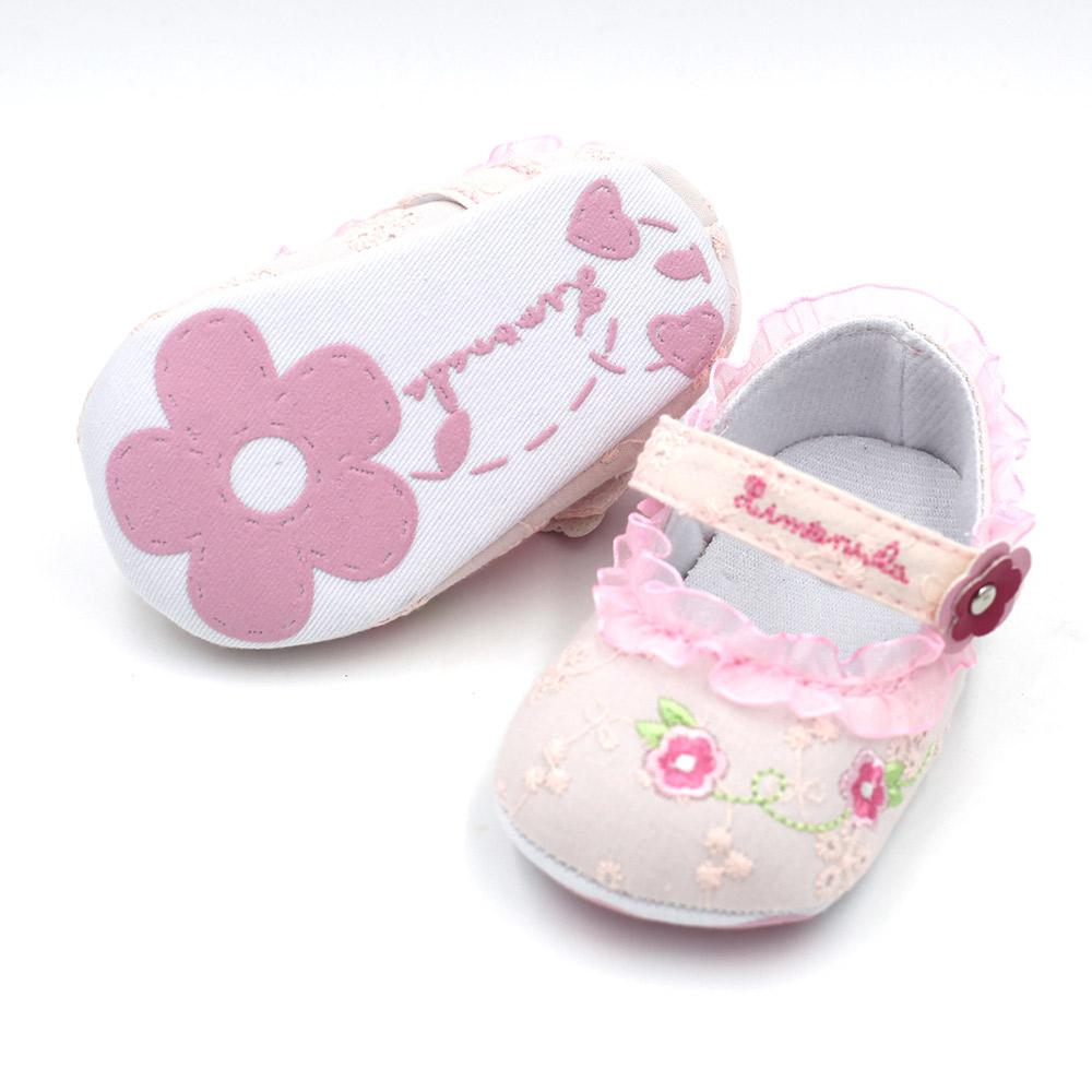 2018 Sweet Pink Flower Crib Baby Girls Shoes Fashion Pierced Soft