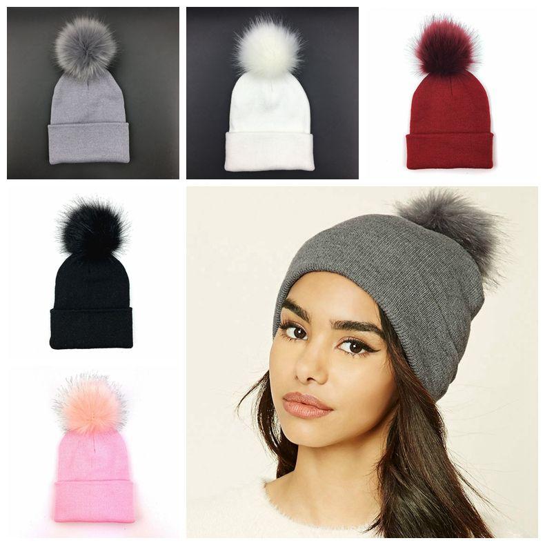 Plus Pom Knitted Hat Winter Beanie Fashion Classic Tight Knitted Fur Pom Hat  Women Cap Headgear Headdress Head Warmer MMA789 Black Baseball Cap Knitted  Hats ... c21e560ced8