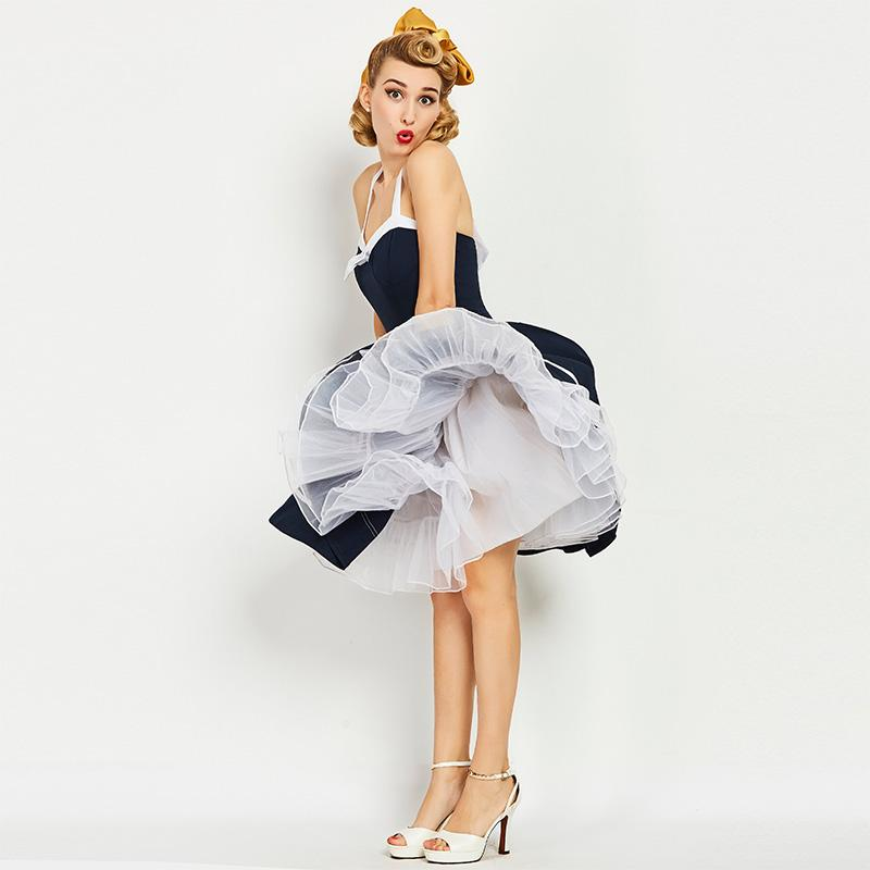 2019 Sishot 1950s Vintage Dresses Summer Knee Length Women Dark Blue Strapless Dress 2017 Backless Halter Rockabilly Retro From Edwiin04
