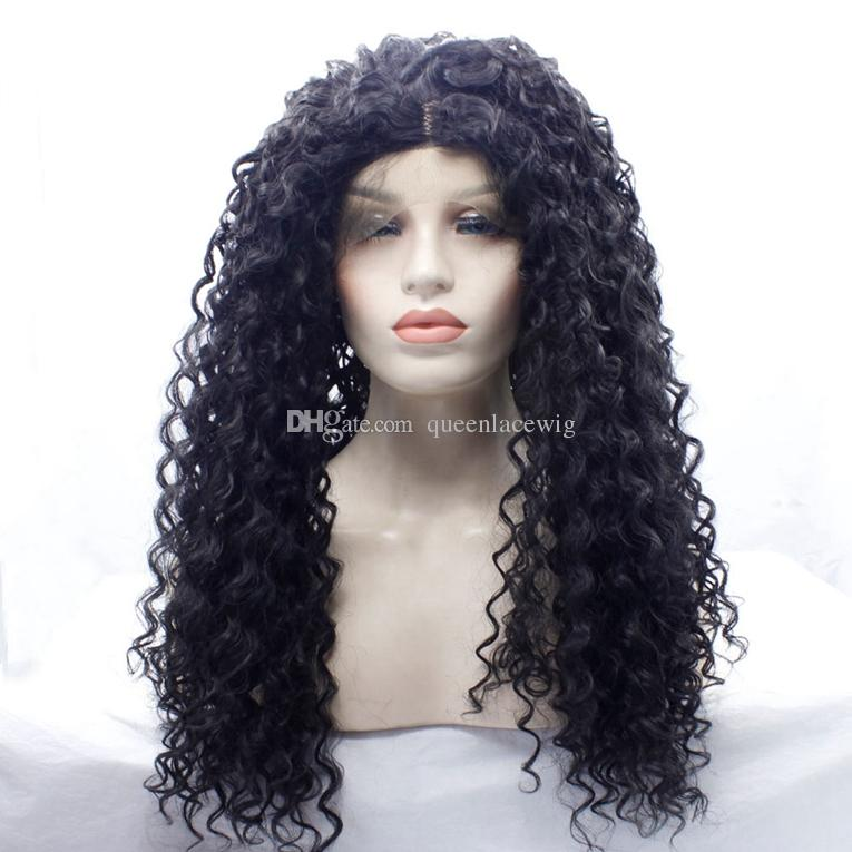 Natural Afro Wig Long Kinkys Curly Synthetic Cosplay Wigs For Women African American Guless Front Lace Wig Heat Resistant Fake Hair