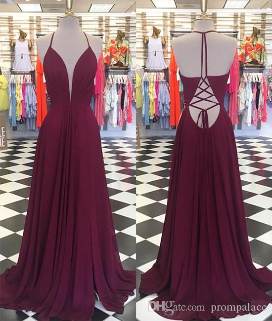 28158919349e Cheap Wine Red Prom Dresses Deep V Neck Chiffon Dresses Sexy Back Formal  Evening Dresses Long Party Gowns Short Formal Dresses Unique Prom Dresses  From ...