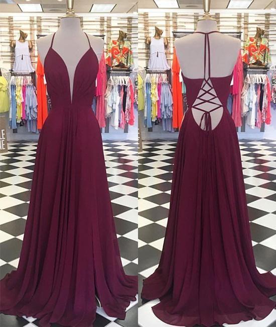 3344548933 Compre Vestidos De Fiesta Baratos De Color Rojo Vino Vestidos De Gasa De  Cuello En V Sexy Vestidos De Noche Formales Espalda Larga Vestidos De Fiesta  Largos ...