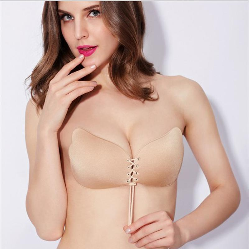 Wholesale Women Strapless Silicone Push-Up Bra Backless Self-Adhesive Gel Magic Stick Invisible Bra For Women lady Summer Fly Bra