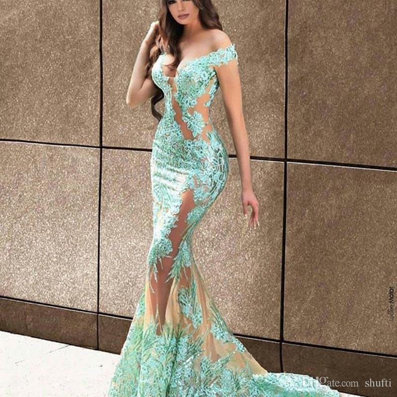 Sirène robes de bal hors- la-épaule sans manches dentelle appliques robes de soirée longues robes de fête Longo Dubaï robe de soirée pour femmes