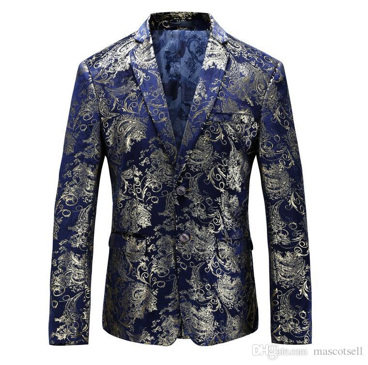 631ea97b77e 2019 Men Blazer 2018 Slim Fit Mens Floral Blazer Casual Suit Jacket 5XL Plus  Size Prom Stage Wear Brand Clothing From Mascotsell