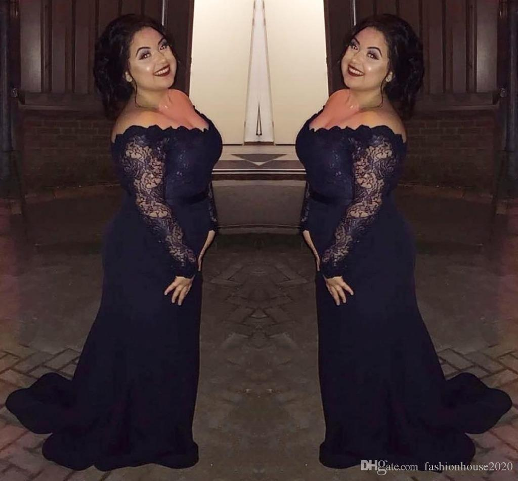 2018 Mother Of The Bride Dresses Column Off Shoulder Long Sleeves Mermaid Lace Appliques Sash Long Plus Size Party Guest Dress Evening Gowns