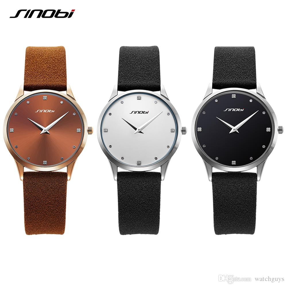 18cf4af0e97 Compre Aaa Relógio De Luxo Sinobi Clássico Relógio De Moda Feminina Top  Marca De Luxo Pulseira De Couro Relógio Senhoras Genebra Relógio De Pulso  De Quartzo ...