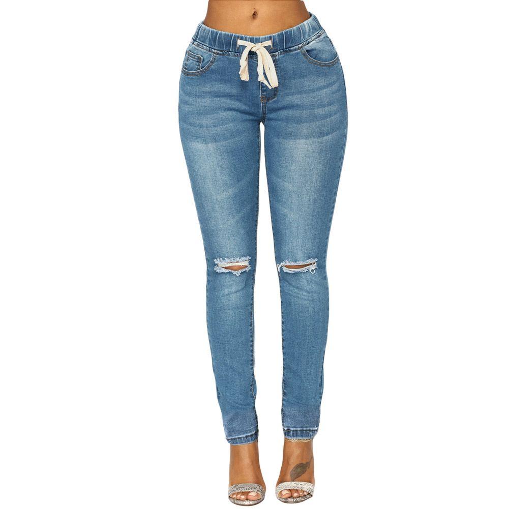 4a0e67bd84 Compre Pantalones De Mezclilla Con Cintura Elástica Azul Con Lavado Medio A   26.24 Del Chenhuiyun