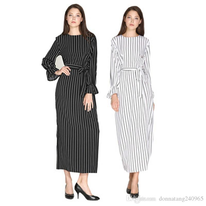 753844589b74a5 JJ1210 Elegant Striped Full Dress Flare Sleeve Abaya Vestidos Long Robes Tunic  Muslim Kimono Middle East Ramadan Arab Islamic Clothing Wrap Dresses Plus  ...