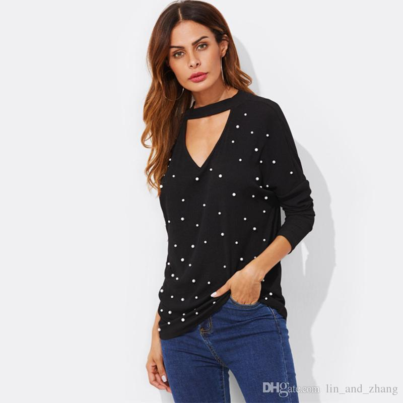 c5e4ff964da8a Tshirts Pearl Beading V Cut Choker Sexy Top New Fashion Spring Womens Black  V Neck Casual Long Sleeve T shirt