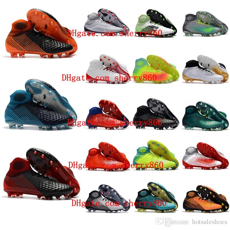 d9504e268 2019 2018 High Ankle Soccer Cleats Magista Obra Fg II Original Soccer Shoes  Time To Shine Soft Ground Football Boots Cheap Magista Cleats Black From ...