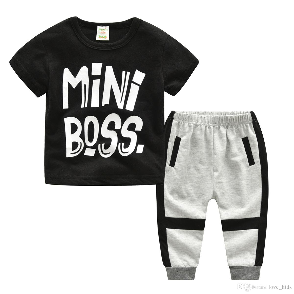 2018 New Style mini boss letters Children's Clothing For Boys And Girls Sports Suit Baby Infant Short Sleeve Clothes Kids Set