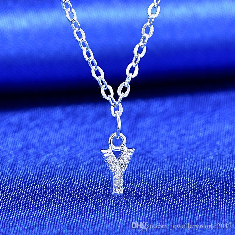 الفضة 26 حرف A إلى الأزياء سلسلة الترقوة قلادة نمط قصيرة Z قلادة المرأة