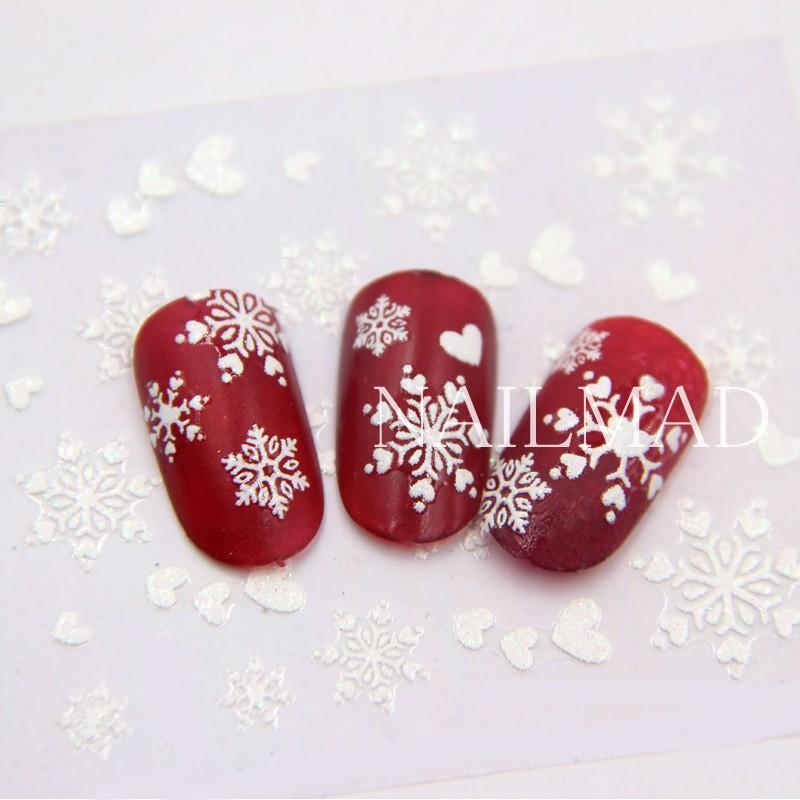 1 Sheet White Snowflake Nail Stickers Christmas Snow Nail Stickers
