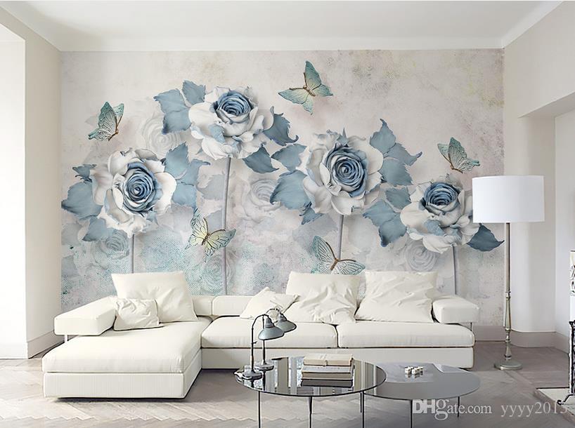 Acquista carta da parati pareti della camera da letto azzurro elegante 3d fiore farfalla tv - Carta da parati 3d camera da letto ...