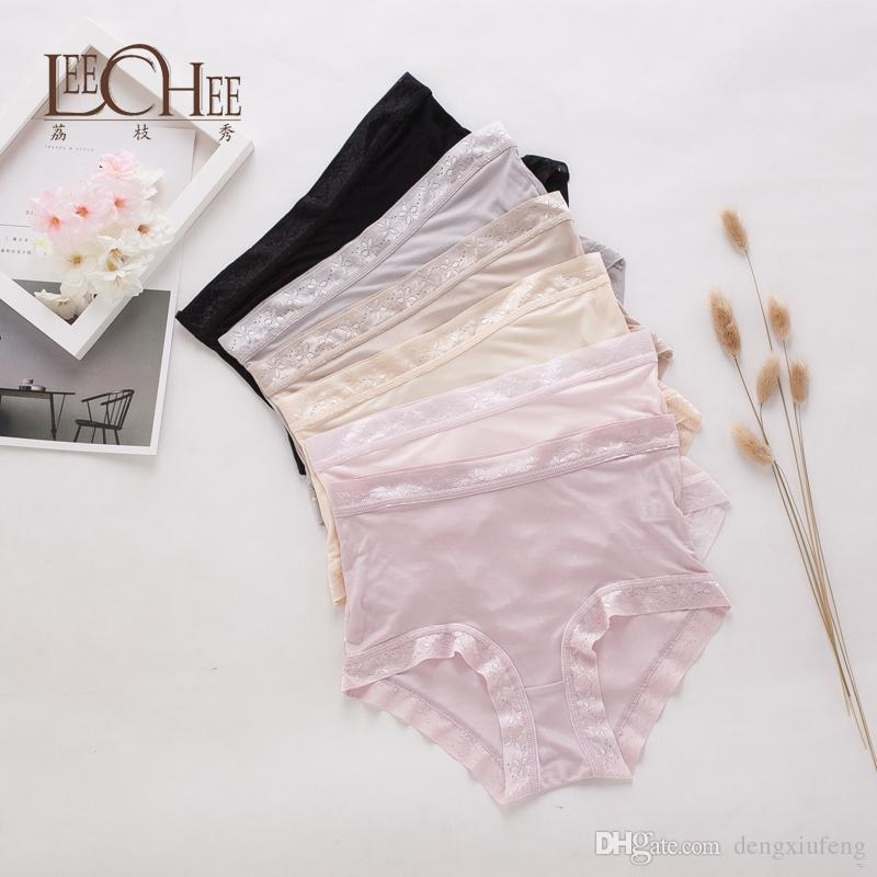 8b7263af9 2019 Leechee Silk Lower Waist Lace Panties Plus Size Women Comfortable  Everyday Briefs Silk Underpants Female Seamless Edge Panties From  Dengxiufeng