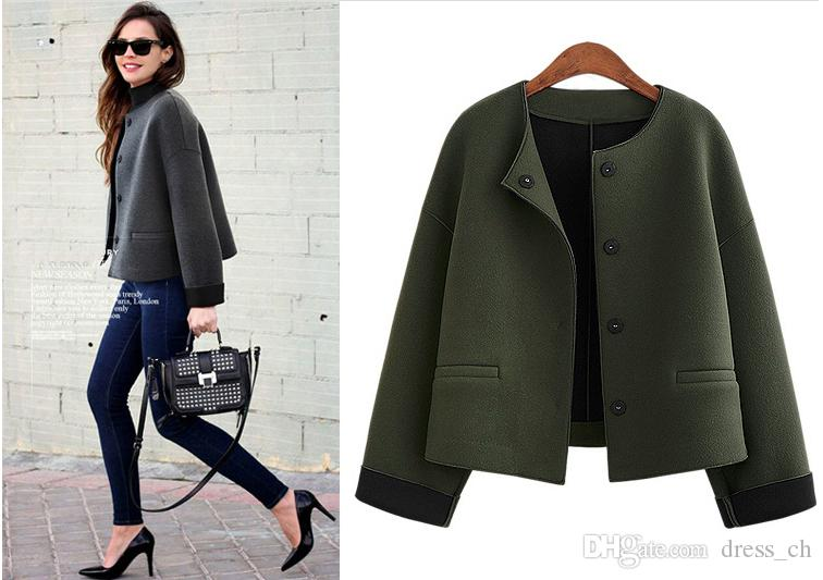 Fashion Fall Winter Short Wool Coat for Women Long Sleeve Coat with Pocket Casual Ladies Solid Color OUTWEAR Jacket