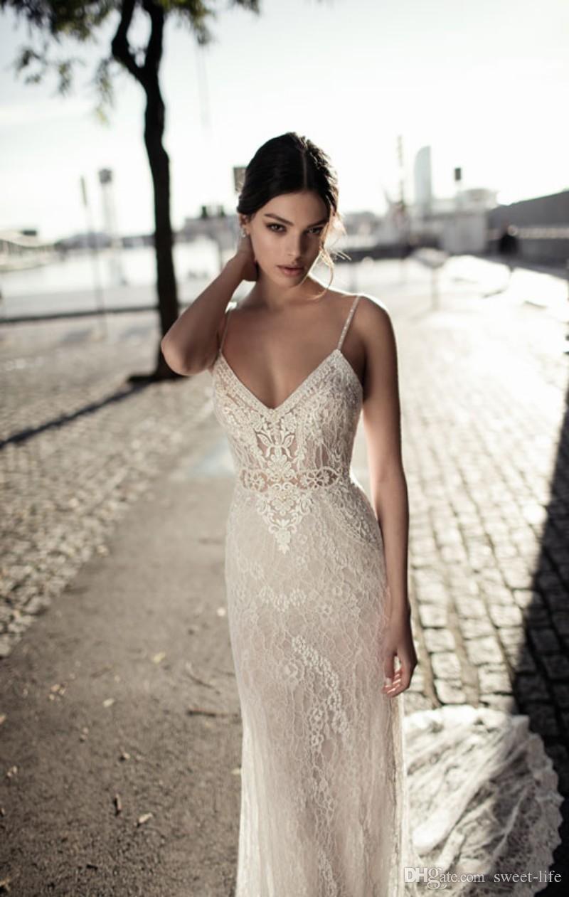 Estilo 2020 más el tamaño de la ilusión de la sirena vestido de novia de espagueti sin mangas Backless atractivo del cordón de Boho de la trompeta Vestidos de novia Vestidos de boda